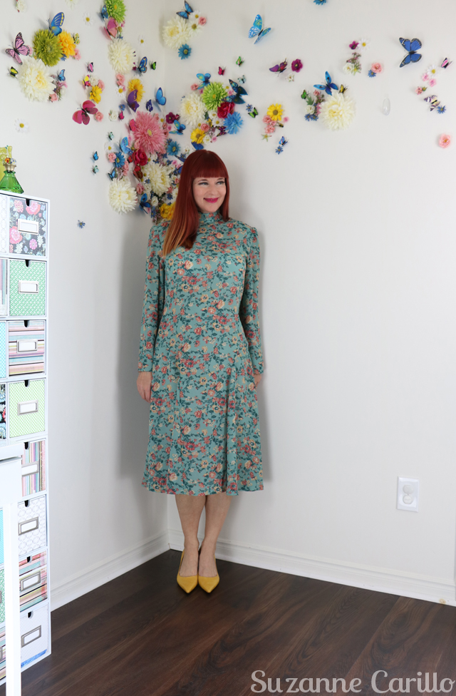 vintage floral teal midi dress for sale online suzanne carillo style