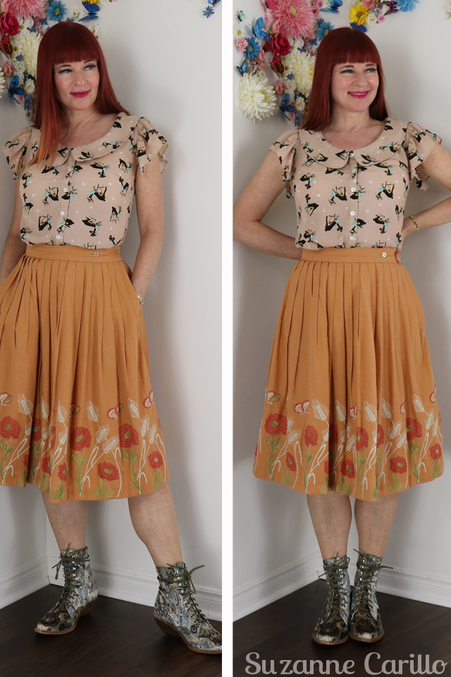 vintage skirt styled contemporary with cowboy boots suzanne carillo style