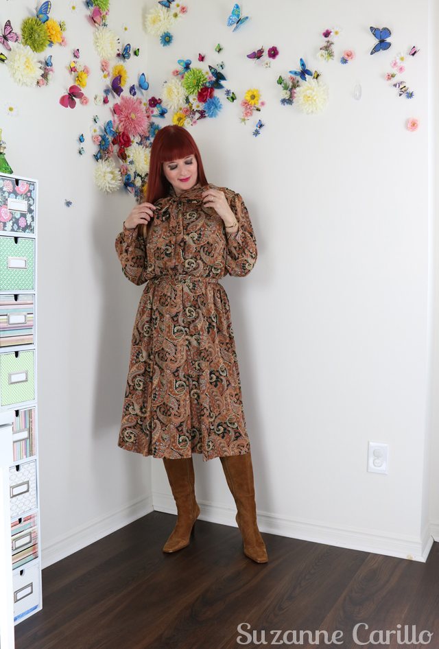 vintage pussy bow dress for sale suzanne carillo style