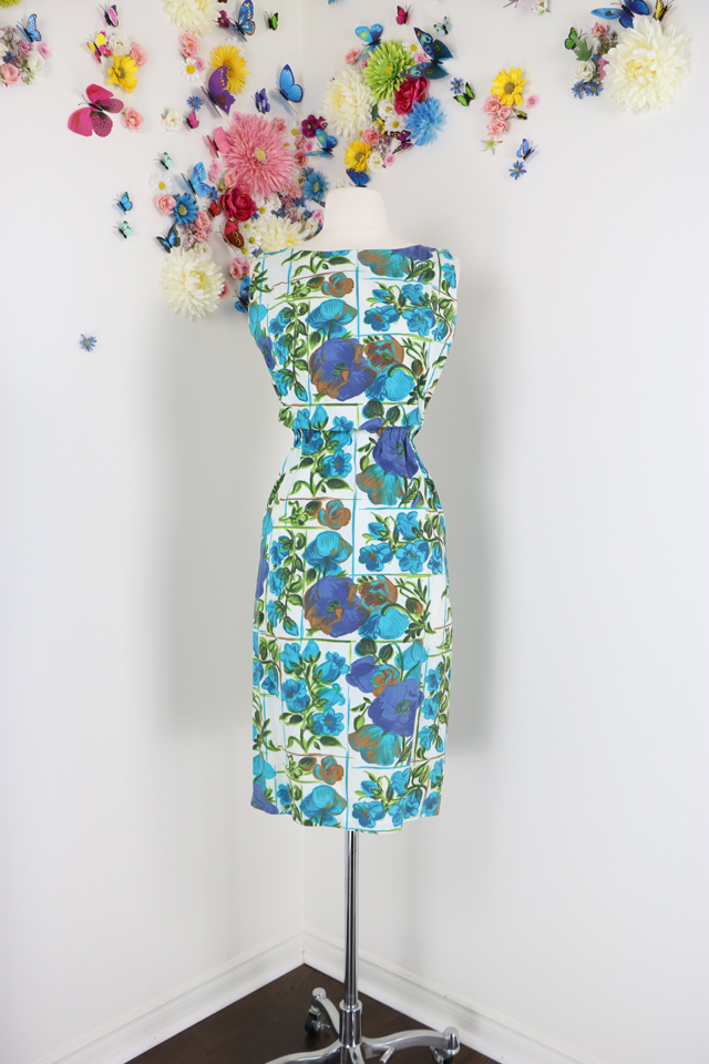 blue brown floral vintage wiggle dress suzanne carillo
