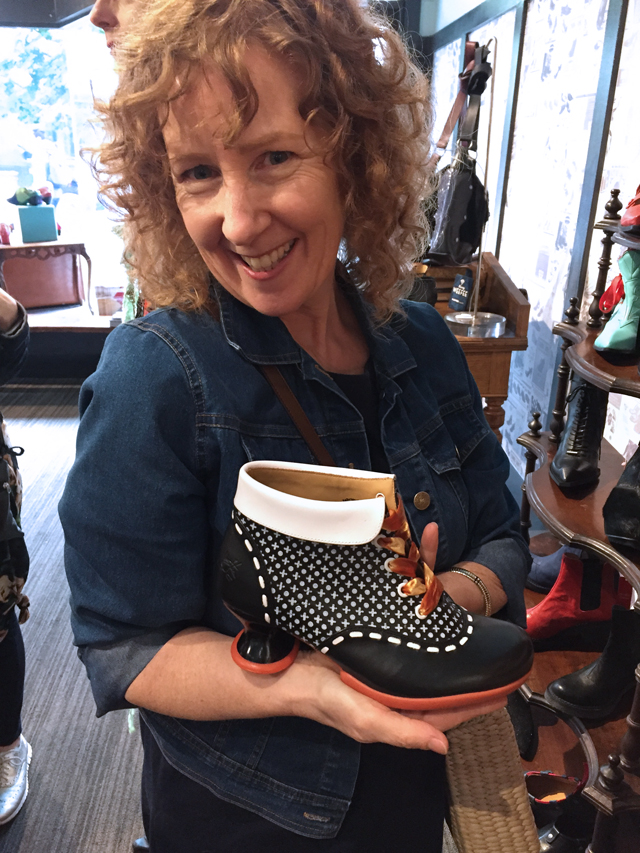 sue a colourful canvas shoe shopping at fluevog
