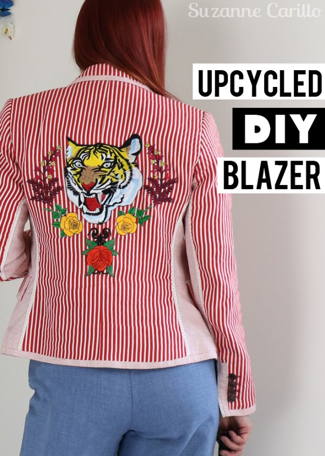 upcycled Zara blazer DIY Suzanne Carillo style for women over 40