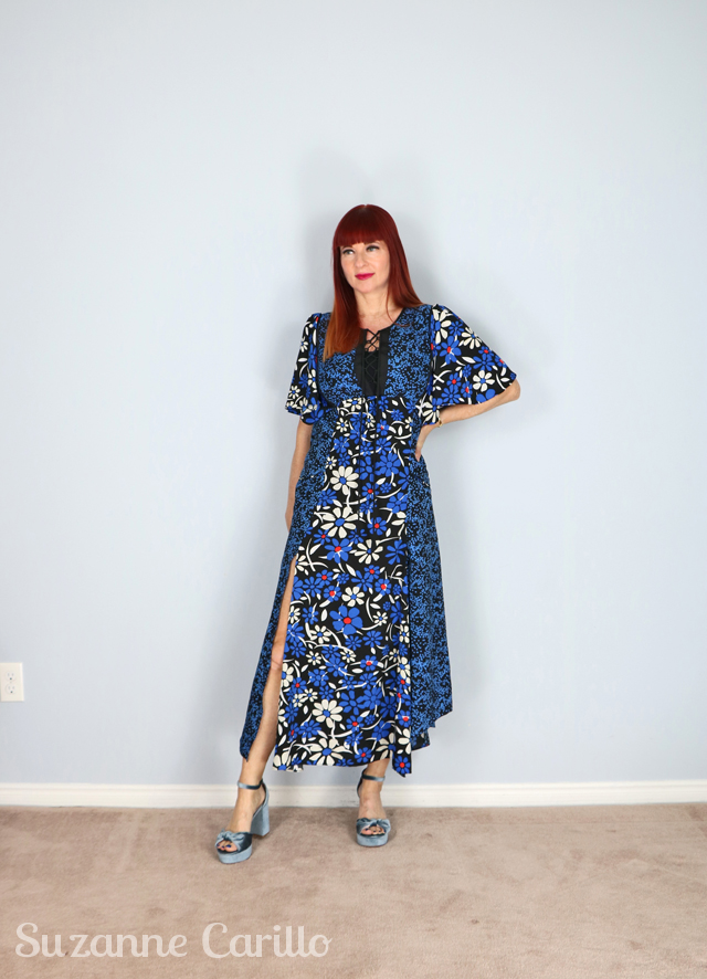 blue floral patchwork midi dress for sale
