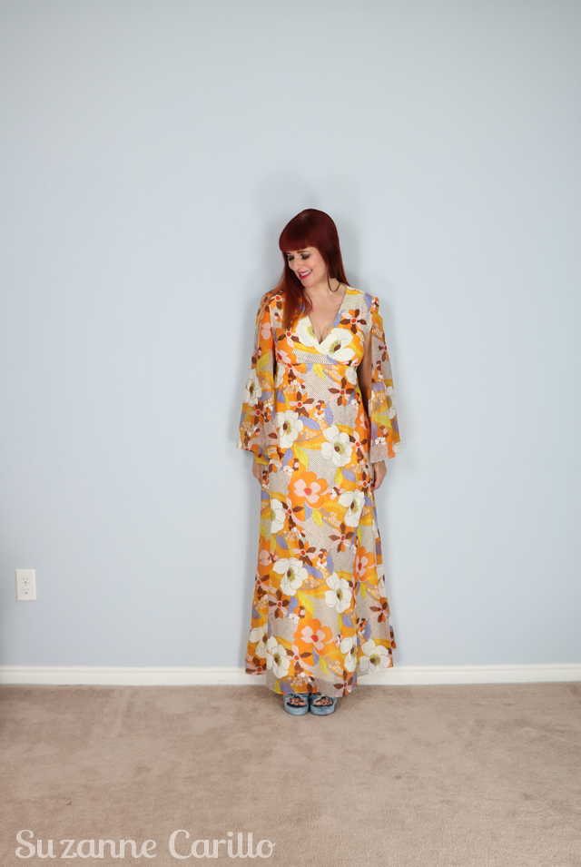 vintage 1970s boho maxi dress with angel sleeves