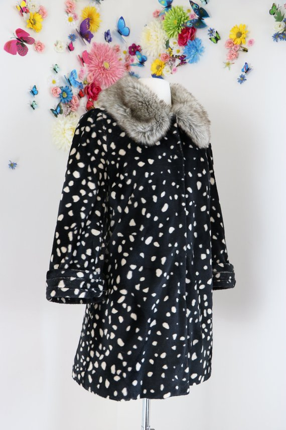 polka dot faux fur coat vintagebysuzanne on etsy