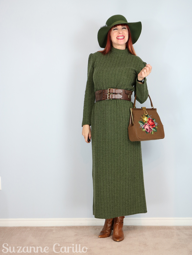 vintage 1970s green knit maxi dress for sale