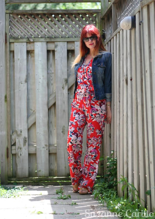anthropologie floral jumpsuit red