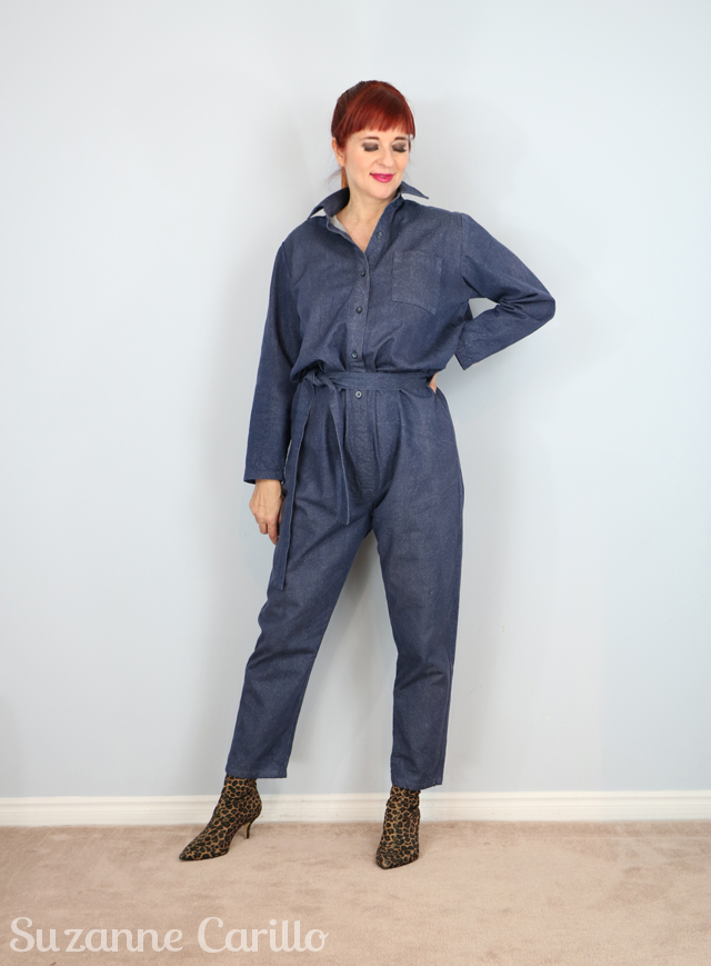 how to wear a denim jumpsuit over 40 suzanne carillo style