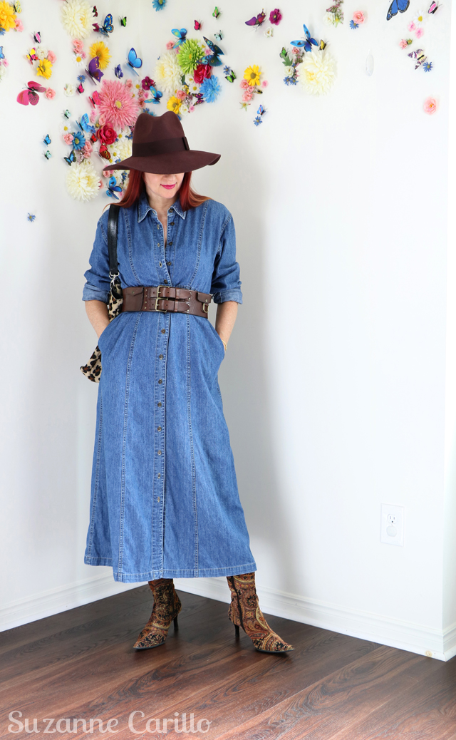 denim dress over 40 suzanne carillo style 640