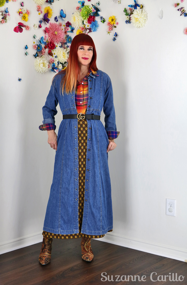 western trend inspiration with layered denim dress by suzanne carillo style over 50