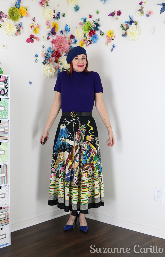 vintage novelty print circle skirt over 50 suzanne carillo style