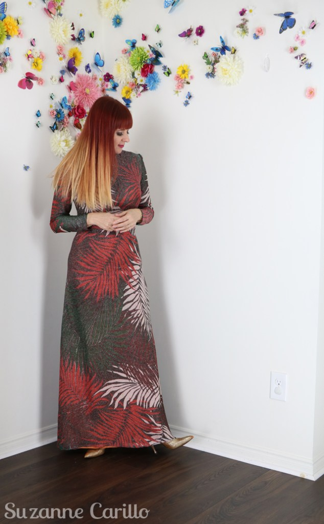 vintage lurex leaf maxi dress suzanne carillo style