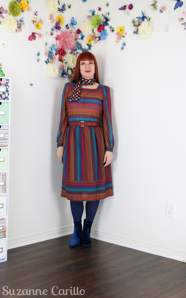 striped vintage dress suzanne carillo style over 40