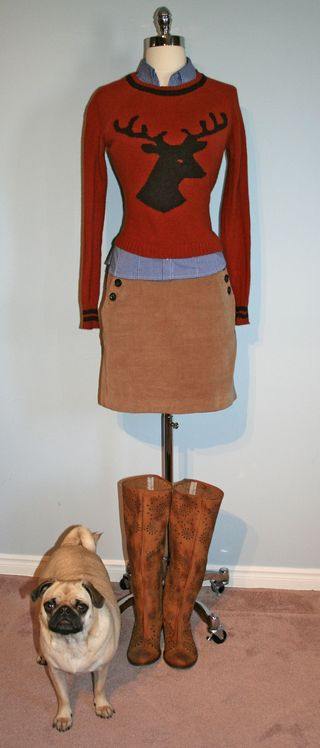 Rust deer sweater without jacket and with zoe