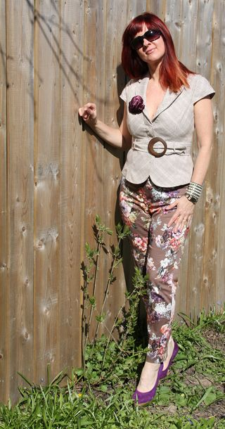 Floral pants beige jacket fence