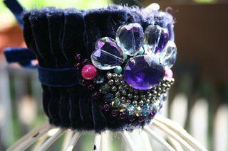 Blue velvet cuff close