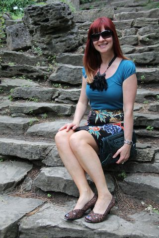 Sitting on steps
