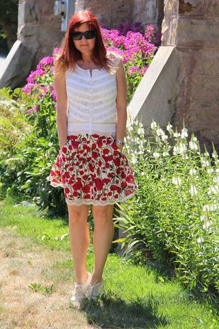 Red anthropologie skirt white blouse