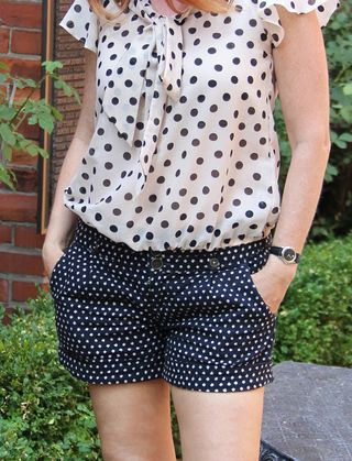 Polk-a-dot blouse and polk-a-dot shorts