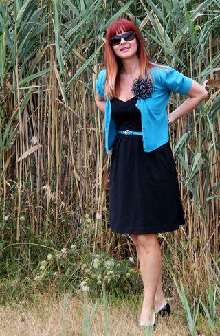 Blue sweater black flower black dress