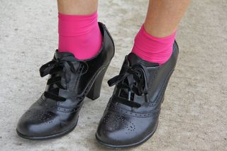 Black lace up oxford shoes pink socks