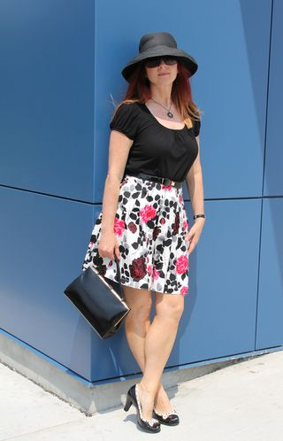 Pink black grey white floral skirt