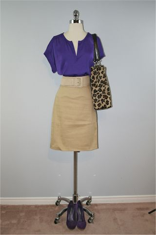 Purple shirt tan skirt