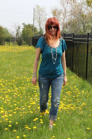 Walking in dandelions