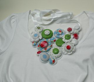 Funky necklace on white tshirt1000