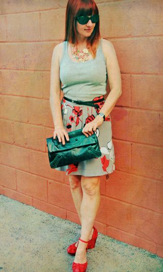 Grey tank top grey coral floral skirt