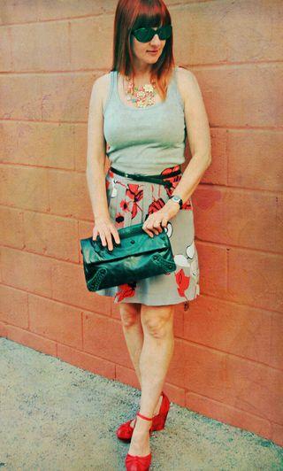 Grey tank top grey coral floral skirt