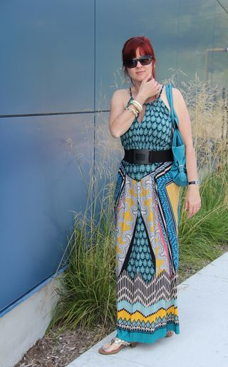 Blue funky maxi dress
