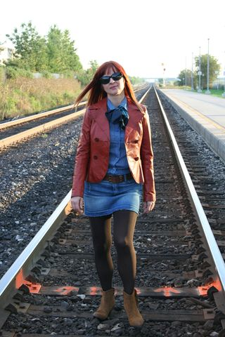 Jean mini skirt denim shirt leather jacket