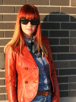 Rust leather jacket tied scarf