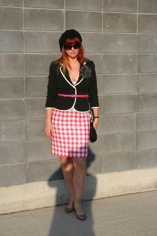 Black blazer pink plaid dress