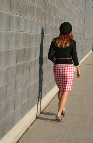 Back of pink plaid dress