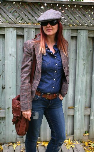 H&M tweed blazer jeans