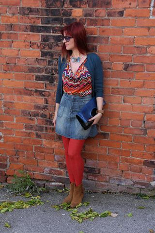 Orange tights brown suede booties