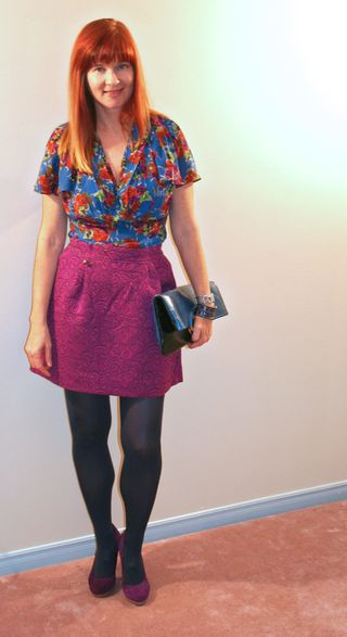 Magenta mini skirt floral pattern silk top anthropologie