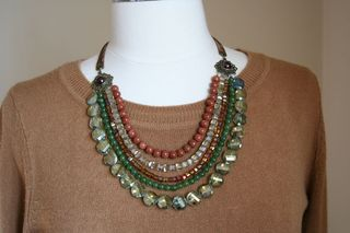 Bronze gold green beaded necklace