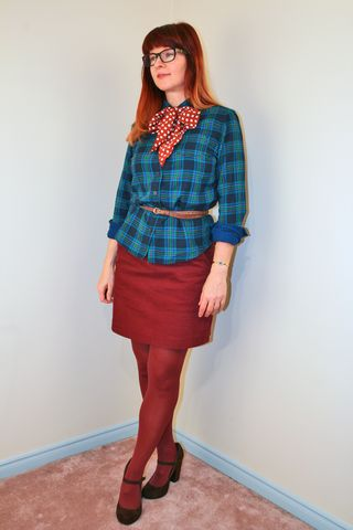Burgundy skirt blue plaid shirt