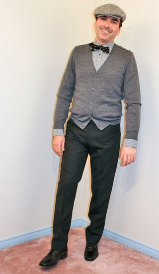 Grey cardigan black bow tie