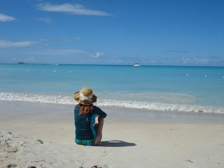 Sitting on beach antigua