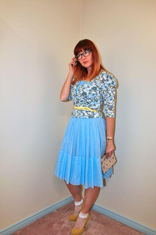 Floral cardigan vintage blue dress