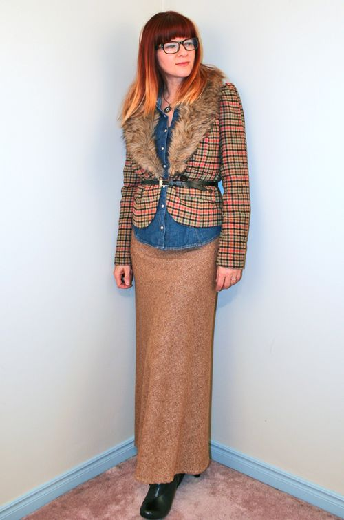 Fur trim blazer vintage maxi tweed skirt