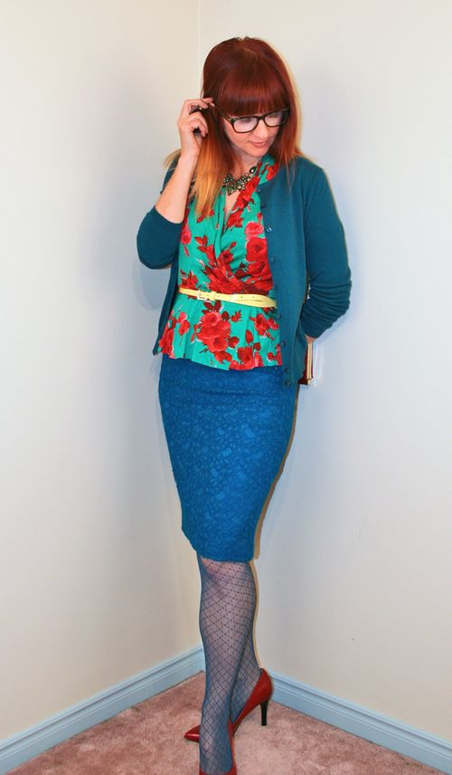 Red and green rose top pencil skirt