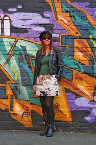 Anthropologie skirt black leather jacket H&M