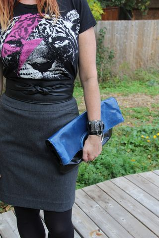 Blue clutch black leather tie belt