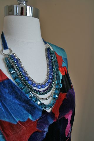 Jewel necklace with velvet dress suzanne carillo