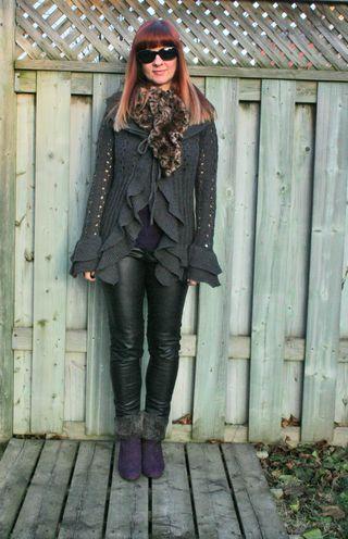 Black leather pants grey sweater